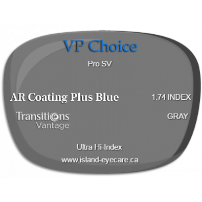VP Choice Pro SV 1.74 AR Coating Plus Blue Transitions Vantage - Gray