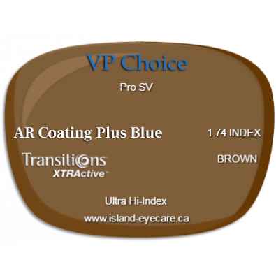 VP Choice Pro SV 1.74 AR Coating Plus Blue Transitions XTRActive - Brown