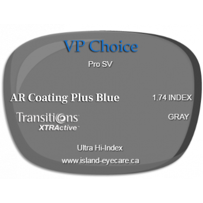 VP Choice Pro SV 1.74 AR Coating Plus Blue Transitions XTRActive - Gray