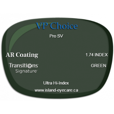 VP Choice Pro SV 1.74 AR Coating Transitions Signature - Green