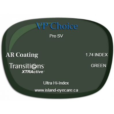 VP Choice Pro SV 1.74 AR Coating Transitions XTRActive - Green