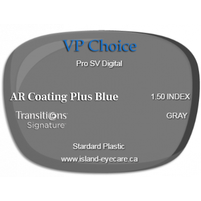 VP Choice Pro SV Digital 1.50 AR Coating Plus Blue Transitions Signature - Gray