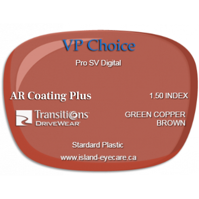 VP Choice Pro SV Digital 1.50 AR Coating Plus Transitions Drivewear  - Green Copper Brown