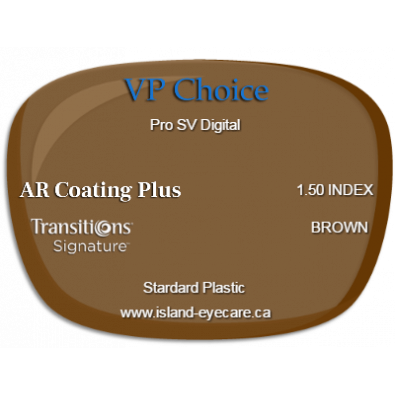 VP Choice Pro SV Digital 1.50 AR Coating Plus Transitions Signature - Brown