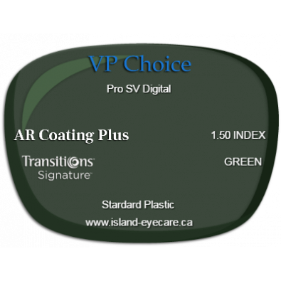 VP Choice Pro SV Digital 1.50 AR Coating Plus Transitions Signature - Green