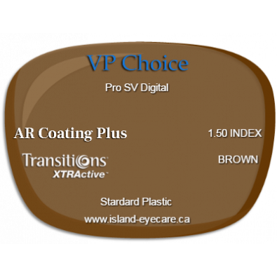 VP Choice Pro SV Digital 1.50 AR Coating Plus Transitions XTRActive - Brown
