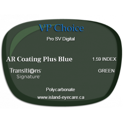 VP Choice Pro SV Digital 1.59 AR Coating Plus Blue Transitions Signature - Green