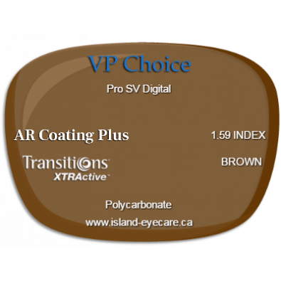 VP Choice Pro SV Digital 1.59 AR Coating Plus Transitions XTRActive - Brown