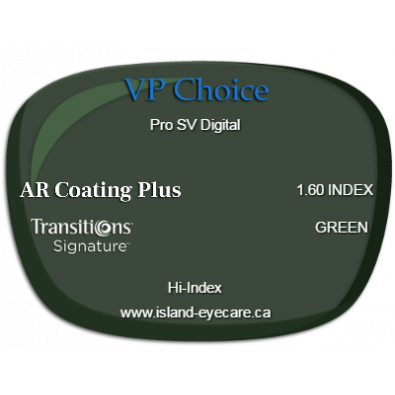 VP Choice Pro SV Digital 1.60 AR Coating Plus Transitions Signature - Green