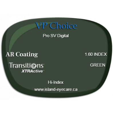 VP Choice Pro SV Digital 1.60 AR Coating Transitions XTRActive - Green