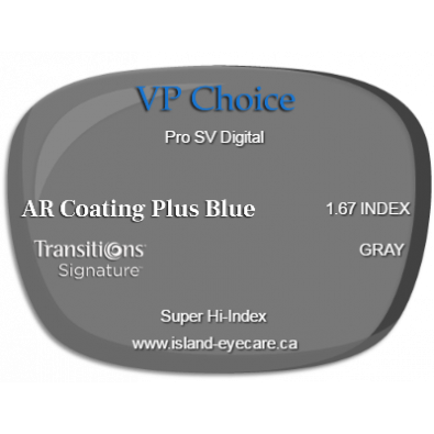 VP Choice Pro SV Digital 1.67 AR Coating Plus Blue Transitions Signature - Gray