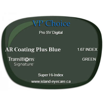 VP Choice Pro SV Digital 1.67 AR Coating Plus Blue Transitions Signature - Green