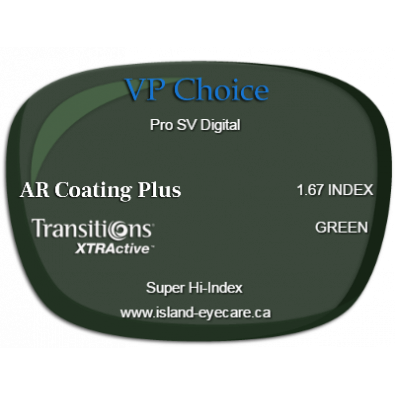VP Choice Pro SV Digital 1.67 AR Coating Plus Transitions XTRActive - Green