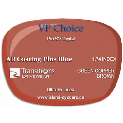 VP Choice Pro SV Digital 1.74 AR Coating Plus Blue Transitions Drivewear  - Green Copper Brown