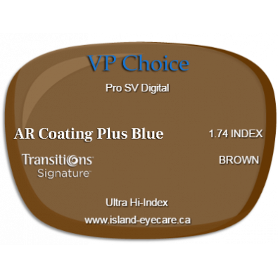 VP Choice Pro SV Digital 1.74 AR Coating Plus Blue Transitions Signature - Brown