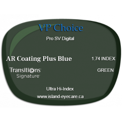 VP Choice Pro SV Digital 1.74 AR Coating Plus Blue Transitions Signature - Green