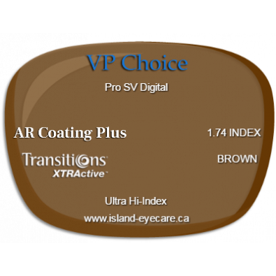 VP Choice Pro SV Digital 1.74 AR Coating Plus Transitions XTRActive - Brown