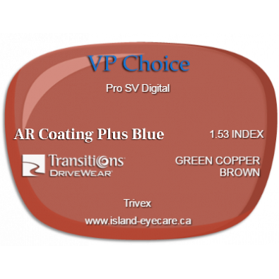 VP Choice Pro SV Digital Trivex AR Coating Plus Blue Transitions Drivewear  - Green Copper Brown