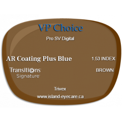VP Choice Pro SV Digital Trivex AR Coating Plus Blue Transitions Signature - Brown