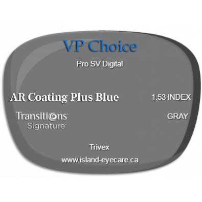 VP Choice Pro SV Digital Trivex AR Coating Plus Blue Transitions Signature - Gray