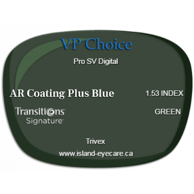 VP Choice Pro SV Digital Trivex AR Coating Plus Blue Transitions Signature - Green
