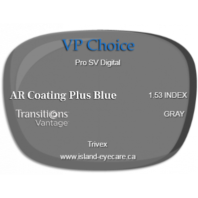 VP Choice Pro SV Digital Trivex AR Coating Plus Blue Transitions Vantage - Gray