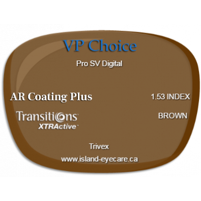 VP Choice Pro SV Digital Trivex AR Coating Plus Transitions XTRActive - Brown