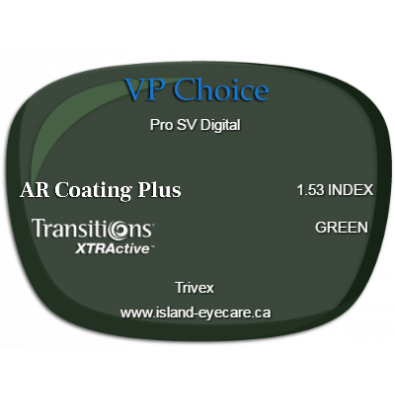 VP Choice Pro SV Digital Trivex AR Coating Plus Transitions XTRActive - Green
