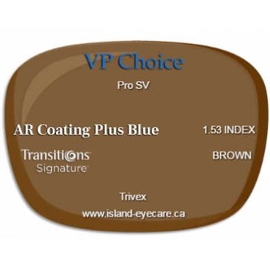 VP Choice Pro SV Trivex AR Coating Plus Blue Transitions Signature - Brown