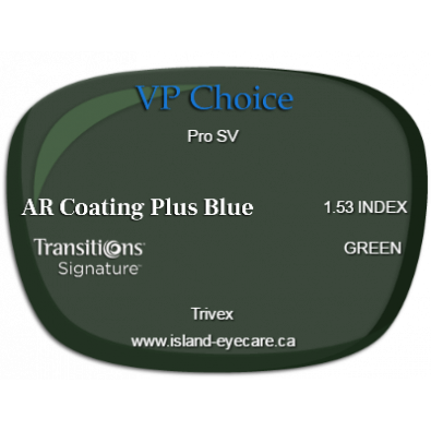 VP Choice Pro SV Trivex AR Coating Plus Blue Transitions Signature - Green