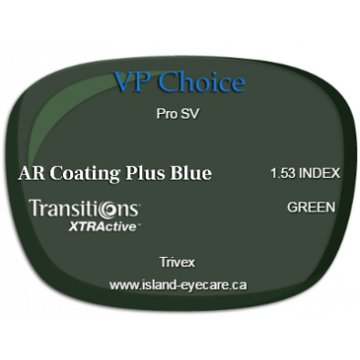 VP Choice Pro SV Trivex AR Coating Plus Blue Transitions XTRActive - Green
