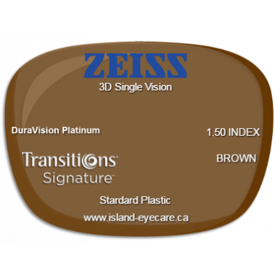 Zeiss 3D Single Vision 1.50 DuraVision Platinum Transitions Signature - Brown