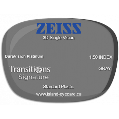 Zeiss 3D Single Vision 1.50 DuraVision Platinum Transitions Signature - Gray