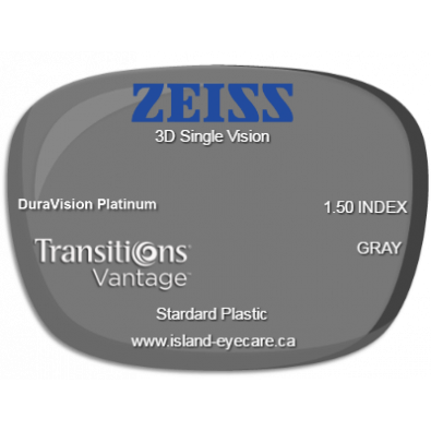 Zeiss 3D Single Vision 1.50 DuraVision Platinum Transitions Vantage - Gray