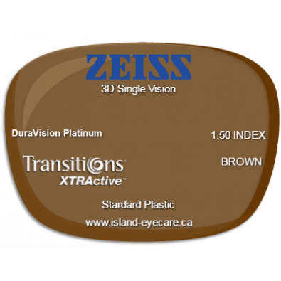Zeiss 3D Single Vision 1.50 DuraVision Platinum Transitions XTRActive - Brown