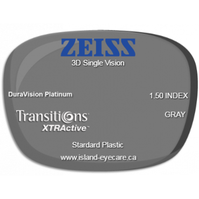 Zeiss 3D Single Vision 1.50 DuraVision Platinum Transitions XTRActive - Gray