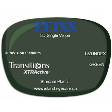 Zeiss 3D Single Vision 1.50 DuraVision Platinum Transitions XTRActive - Green
