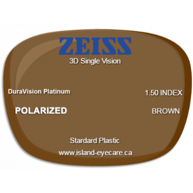 Zeiss 3D Single Vision 1.50 DuraVision Platinum Zeiss Polarized - Brown