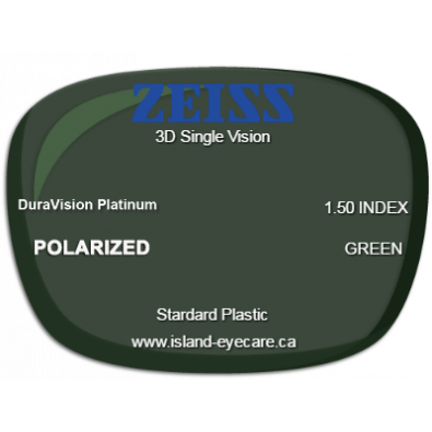 Zeiss 3D Single Vision 1.50 DuraVision Platinum Zeiss Polarized - Green
