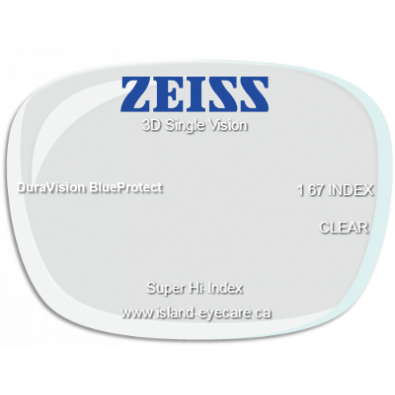 Zeiss 3D Single Vision 1.67 DuraVision BlueProtect
