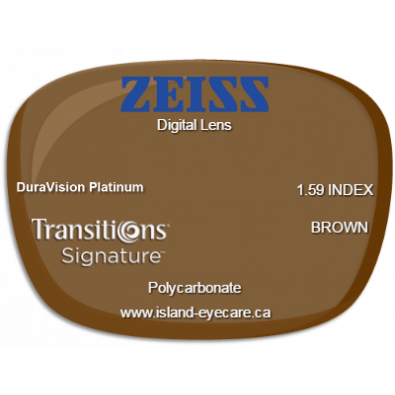 Zeiss Digital Lens 1.59 DuraVision Platinum Transitions Signature - Brown