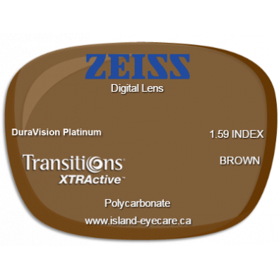 Zeiss Digital Lens 1.59 DuraVision Platinum Transitions XTRActive - Brown