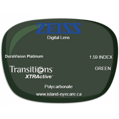 Zeiss Digital Lens 1.59 DuraVision Platinum Transitions XTRActive - Green