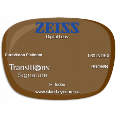 Zeiss Digital Lens 1.60 DuraVision Platinum Transitions Signature - Brown
