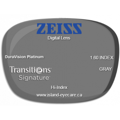 Zeiss Digital Lens 1.60 DuraVision Platinum Transitions Signature - Gray