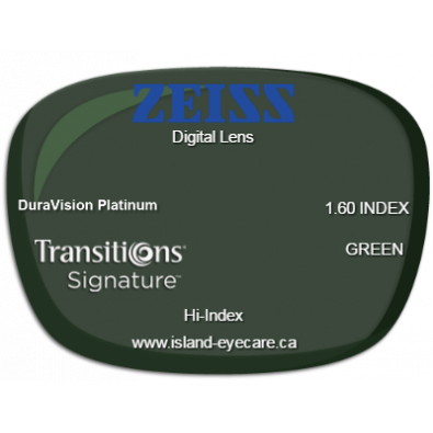 Zeiss Digital Lens 1.60 DuraVision Platinum Transitions Signature - Green