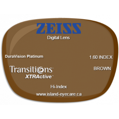 Zeiss Digital Lens 1.60 DuraVision Platinum Transitions XTRActive - Brown