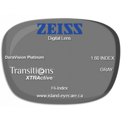 Zeiss Digital Lens 1.60 DuraVision Platinum Transitions XTRActive - Gray