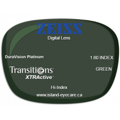 Zeiss Digital Lens 1.60 DuraVision Platinum Transitions XTRActive - Green