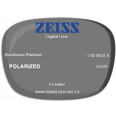 Zeiss Digital Lens 1.60 DuraVision Platinum Zeiss Polarized - Gray
